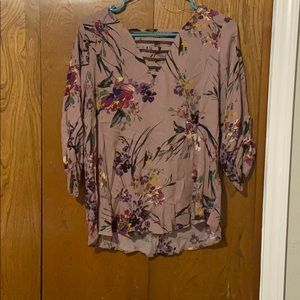 Purple shirt with flowers